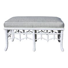 Vintage Chinoiserie Faux Bamboo Bench Upholstered in a Woven Thibaut Fabric Faux Bamboo, Upholstered Bench, Cottage Chic, Chinoiserie, Family Room, Upholstery, Vanity Bench, Mudroom, Fabric