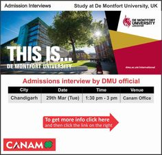 Study at De Montfort University UK. #DeMontfortUniversity (DMU) is a dynamic institution with a long and vibrant history of improving people's lives through education. #Studyabroad #StudentVisa #StudyVisa #StudyinUK #CanamConsultants #CanamGroup  For complete information & enrolment Contact CANAM on - 18002005499 or Register Here http://bit.ly/21uCqIt by canamunisearch