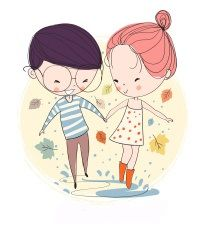 Find Boy Girl Love Cards Theme Autumn stock images in HD and millions of other royalty-free stock photos, illustrations and vectors in the Shutterstock collection. Couple Drawings, Love Drawings, Cartoon Drawings, Cartoon Art, Valentines Day Drawing, Planner Doodles, Couple Illustration, Valentines Illustration, Dibujos Cute