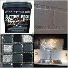 Glitter grout for your next glam DIY home improvement project Glitter Grout, Glitter Paint For Walls, Glitter Bathroom, Glitter Eyeshadow, Glitter Mirror, Glitter Paint Backsplash, Glitter Paint Kitchen, Glitter Makeup, Mirrored Tile Bathroom