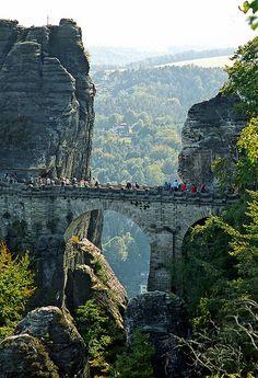 The Bastei Bridge in the Elbe Sandstone Mountains nearby Dresden - Die Basteibrücke im Elbsandsteingebirge nahe Dresden