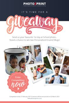 Prize 2x Enamel mugs. Entry's ends on the 27 February 2021. Winner will be announced on the 2nd of March 2021. #competition #competitionseason #family_moments #win #photo2printza #shareandwin #photobookcompetition #SouthAfrica #Gauteng #Capetown #Durban #memories 1st Day Of School, Photo Competition, School Photos, Photo Book, February, Enamel, Memories, Seasons, Mugs