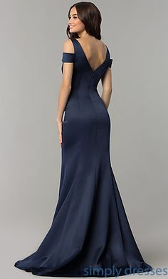 Satin Cold-Shoulder Long Prom Dress with Train