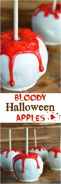 The BEST Halloween Party Recipes {Spooktacular Desserts, Drinks, Treats, Appetizers and More!} Halloween Party Treats Appetizers and Desserts Recipes - Bloody White Chocolate Apples Treats Recipe via Wonky Wonderful Halloween Desserts, Halloween Cupcakes, Halloween Sanglant, Bloody Halloween, Halloween Party Treats, Hallowen Food, Halloween Baking, Halloween Goodies, Halloween Birthday