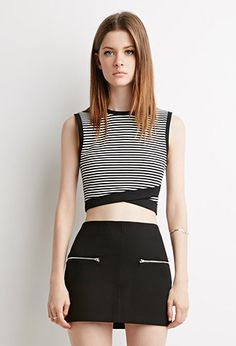 Buy it now. FOREVER21 Women's  Striped Cross-Hem Crop Top. STYLE A sleeveless crop top featuring a striped pattern and crisscross hemline.Lightweight knitShell 1: 52% rayon, 46% polyester, 2% spandex; Shell 2: 75% polyester, 20% rayon, 5% spandexHand wash coldMade in ChinaFIT Measured from Small14.5%22 full length, 30%22 chest, 26%22 waist , topcorto, croptops, croptops, croptop, topcrop, topscrops, cropped, bailarina, topbailarina, corto, camisolacorta, topcortoestilobandeau, crop, bralet…