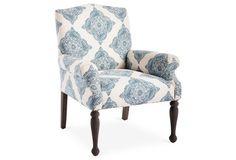 Tara Linen Accent Chair, Blue/White