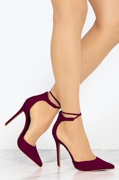 8cbd3e858530 Chellysun Suede Strap Cusp Point Toe High Heels Stiletto Heels
