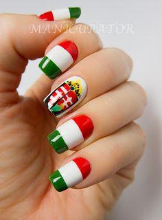 Hungarian flag nail art