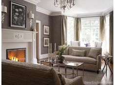 Gray might be a really cool color to consider in the living room area. A gray living room in Darien, Conn is anything but drab. Photo by John Bessler Formal Living Rooms, Living Room Grey, Home And Living, Living Room Decor, Mocha Living Room, City Living, Modern Living, Georgian Interiors, Georgian Homes