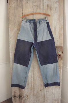 Vintage French work wear chore pants denim trousers workwear 28W REPAIRS www.textiletrunk.com