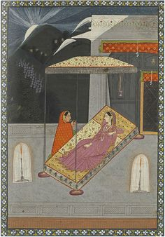 Lovelorn Lady Consoled by her Confidant Garhwal, India circa 1825 Ink, opaque watercolor, and gold on paper 7 7/8 x 5 5/8 inches (20 x 14.4 cm)