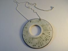 Porcelain pendant with platinum lustre on sterling silver chain