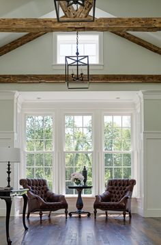 rustic beams, dark floors
