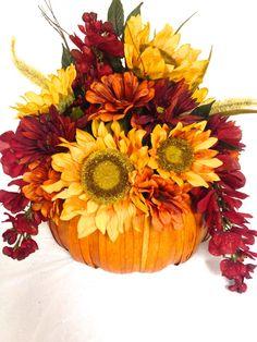 """FREE SHIPPING Fall Thanksgiving LARGE Silk Floral Sunflower Mix Pumpkin Arrangement Centerpiece 16""""(l) x 14""""(h)"""