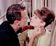 PARIS WHEN IT SIZZLES ~ William Holden & Audrey Hepburn kiss. [GIF]