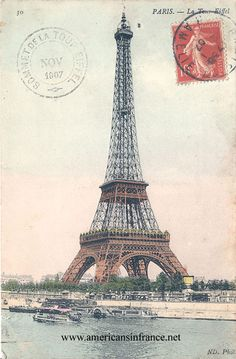 Eiffel Tower in Paris from a postcard sent in November 1907.