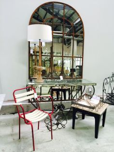 Arched Panel Mirror, French Stackable Red Carver, Steel Paris Console with Mirror Top and accessories. All available at Le Forge 59 Denison Street, Camperdown NSW Australia www.leforge.com.au