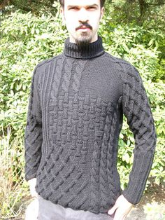 Men's mosaic of textured patterns sweater knitting pattern