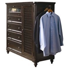 Perfect for stowing sweaters, dresses, and skirts, this 4-drawer chest features a rich tobacco finish and louvered cabinet door. A pull-out rod holds garment...