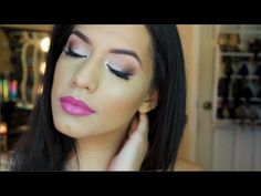 ▶ cute spring makeup look (purple and glitter) - YouTube