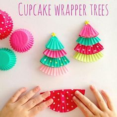 cupcake liner crafts cupcake liner Christmas trees crafts for kids Christmas crafts for kids