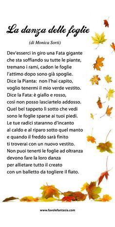 danza delle foglie_Monica Sorti Italian Grammar, Italian Vocabulary, Italian Language, Italian Lessons, Vintage School, Fall Crafts For Kids, Learning Italian, Kids Education, Nursery Rhymes