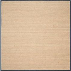 Safavieh Hand-woven Contemporary Sisal Natural/ Blue Seagrass Rug (8' Square), Beige
