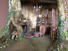 SALE fairy house dollhouse tree house by fairyfurnishings on Etsy, $1200.00