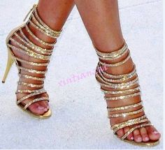 Womens Open Toe Strappy Rhinestone Zipper High Stilettos Heels Gold Party Shoes