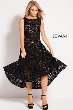 Tea length fit and flare black lace ready to wear dress with nude underlay  features sleeveless. jovani.com 1049ce8c1
