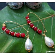 Red_Beads_Long_Hook_Pearl_Drop_Earrings-Jewellery-Bindurekha Fashion Studio
