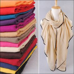 solid color stripe cotton scarf autumn winter thick scarf quality plain air conditioning cape Oversized Shawl Large Size180X95CM $6.88