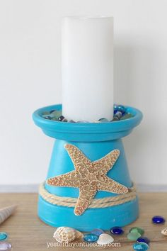 How to DIY a Starfish Candle Holder out of a flower pot. A easy beachy craft and decor project, plus lovely printable inspirational art. manualidades flower pots Starfish Candle Holder and Printable Clay Flower Pots, Flower Pot Crafts, Clay Pots, Flower Pot Art, Seashell Crafts, Beach Crafts, Summer Crafts, Clay Pot Projects, Clay Pot Crafts
