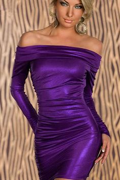 Purple Off Shoulder Long Sleeve Ruched Bodycon Dress #maykool