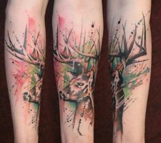 Deer, awesome, forearmtattoo, colourful, stag, tattoos, watercolor. Upliked by chantelle789