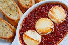 really interesting, broiled goat cheese with marinara and baguette