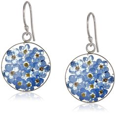 Sterling Silver Pressed Flower Circle Drop Earrings ** Find out more about the great product at the image link.