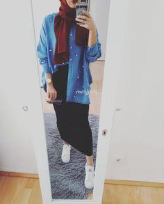 Hijab Style Dress, Modest Fashion Hijab, Casual Hijab Outfit, Hijab Chic, Muslim Fashion, Skirt Fashion, Fashion Outfits, Modest Wear, Modest Outfits