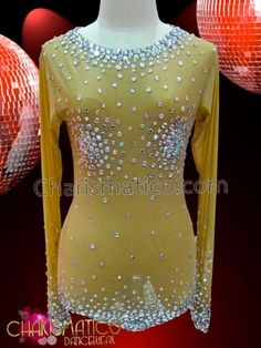 Nude illusion long sleeve leotard with rhinestone crystal modesty accents #CHARISMATICO