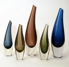 Tapio Wirkkala, Fish Bladder vases, 1957. For Iittala, Finland. Via freeformusa