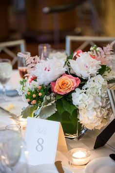 Sweet summer wedding at the beautiful Westin Hotel Georgetown, Washington DC. - wedding centerpiece idea