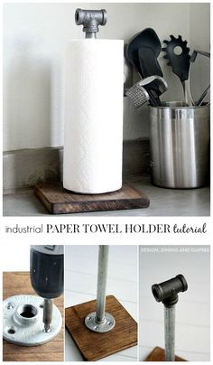 Industrial Paper Towel Holder Tutorial by {Design, Dining + Diapers}