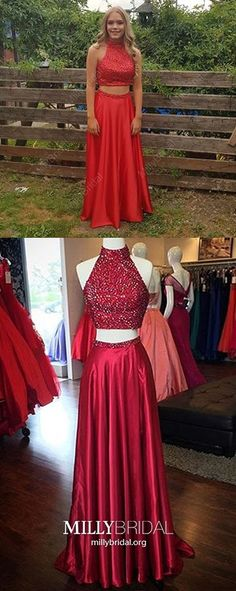 Two Piece Prom Dresses Red, Long Formal Evening Dresses With Slit, A-Line Military Ball Dresses Open Back, Sparkly Pageant Graduation Party Dresses Beading Spring Formal Dresses, Open Back Prom Dresses, Prom Dresses Two Piece, Prom Dresses For Teens, Unique Prom Dresses, A Line Prom Dresses, Beautiful Prom Dresses, Prom Dresses Online, Formal Evening Dresses