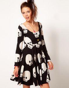 retro 1990s skull babydoll dress