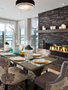 Gorgeous dining room with 2-way gas fireplace