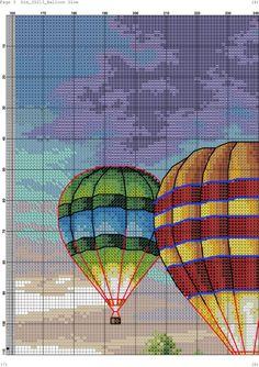 Ribbon Embroidery, Embroidery Patterns, Cross Stitch Patterns, Balloon Glow, Hot Air Balloon, Simple Cross Stitch, Cross Stitch Baby, Cross Stitch Landscape, Air Ballon