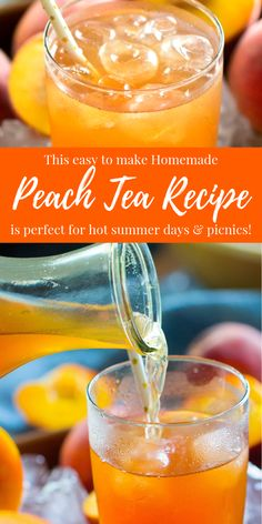 Here is a delicious Homemade Tea Recipe! This Copycat Sonic Easy Peach Tea Recipe is perfect for Holidays, Mother's Day of July, or Summertime! Iced Tea Recipes, Alcohol Drink Recipes, Punch Recipes, Summer Drinks, Fun Drinks, Healthy Drinks, Cold Drinks, Beverages, Peach Ice Tea