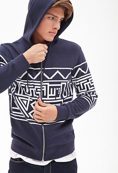 Tribal Print Hoodie | 21 MEN - 2000057132 at Forever 21