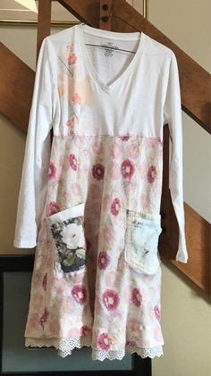 Repurposed T shirt top dress, created from upcycled clothing, comfortable easy to wear. Shabby chic with miss matched pockets for fun, roll up the sleeves and put on a pair of white tennis shoes and youll feel great! The top is a comfortable cotton long sleeve T shirt, the bottom