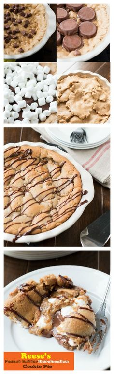 this turned out awesome!! Reese's peanut butter marshmallow cookie pie! #recipe #cookiepie http://ohsweetbasil.com